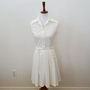 Vintage Off White Sleeveless Pleated Button Dress